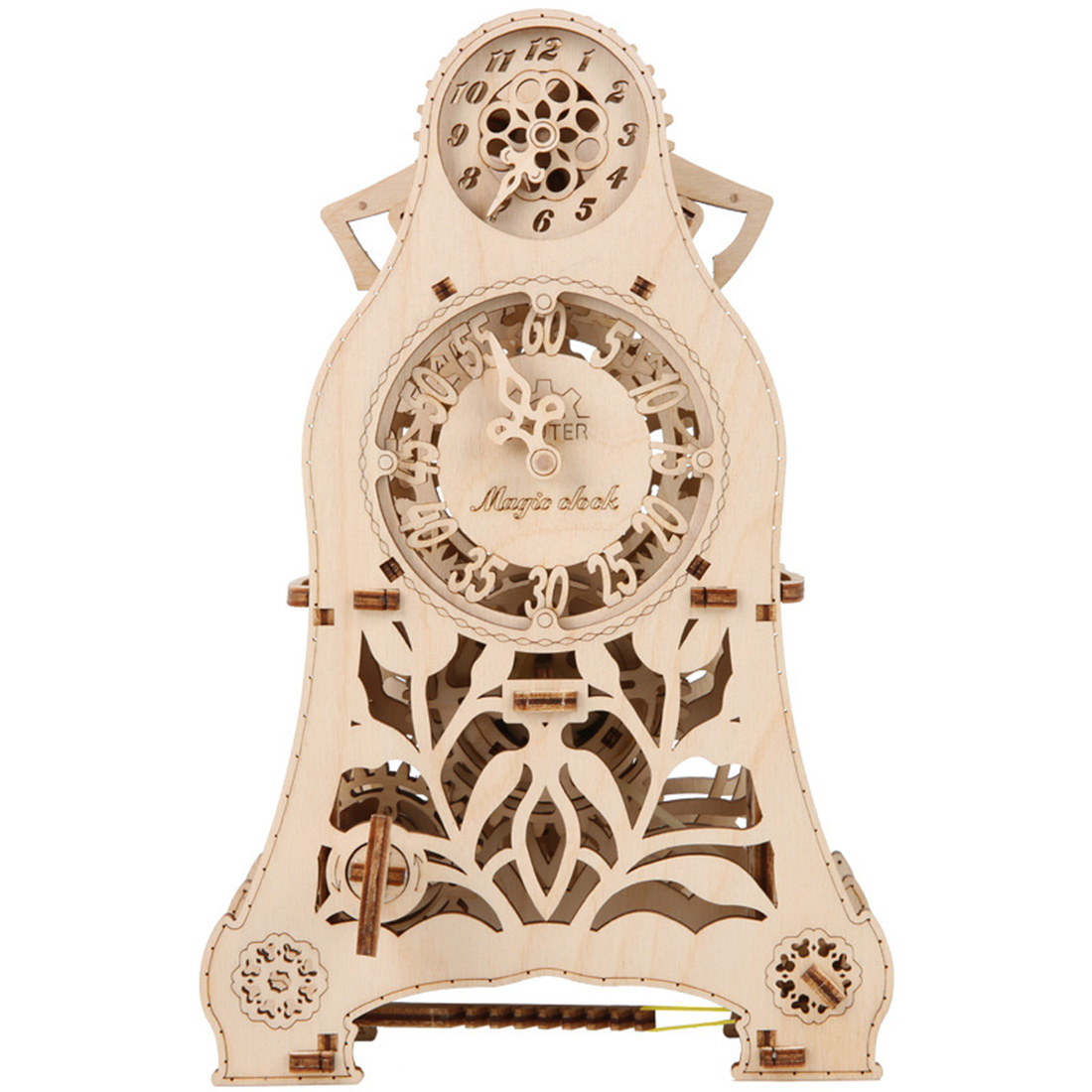 Diy Assembly Toys Wooden Mechanical Transmission Model Magic Pendulum Clock Woodcraft Construction Kit Assembly Puzzle Toy