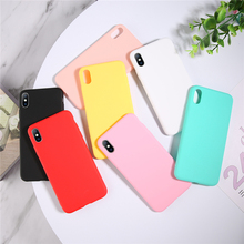 Ottwn Plain Color Phone Cases For iphone X XS MAX XR 6 6S 7 8 Plus Fashion Glossy Soft Silicone TPU Back Case Cover Shells