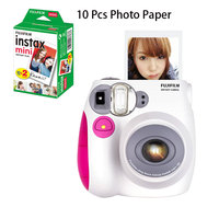 Fujifilm Polaroid mini 7s Student Models Once Imaging Camera Children Gift Cheap with 10 Pcs Photo Paper