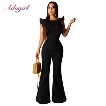 цена на Solid Patchwork Ruffles Wrap Belted Wide Leg Pants Black Jumpsuit Women Casual Streetwear Overalls Sexy Outfits Clubwear Rompers