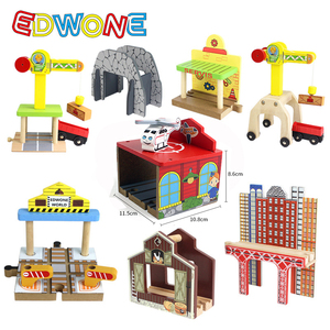 Image 4 - EDWONE buk Bridge Rail Track akcesoria nadające się do drewniany pociąg edukacyjny chłopiec/zabawka dla dzieci wiele torów