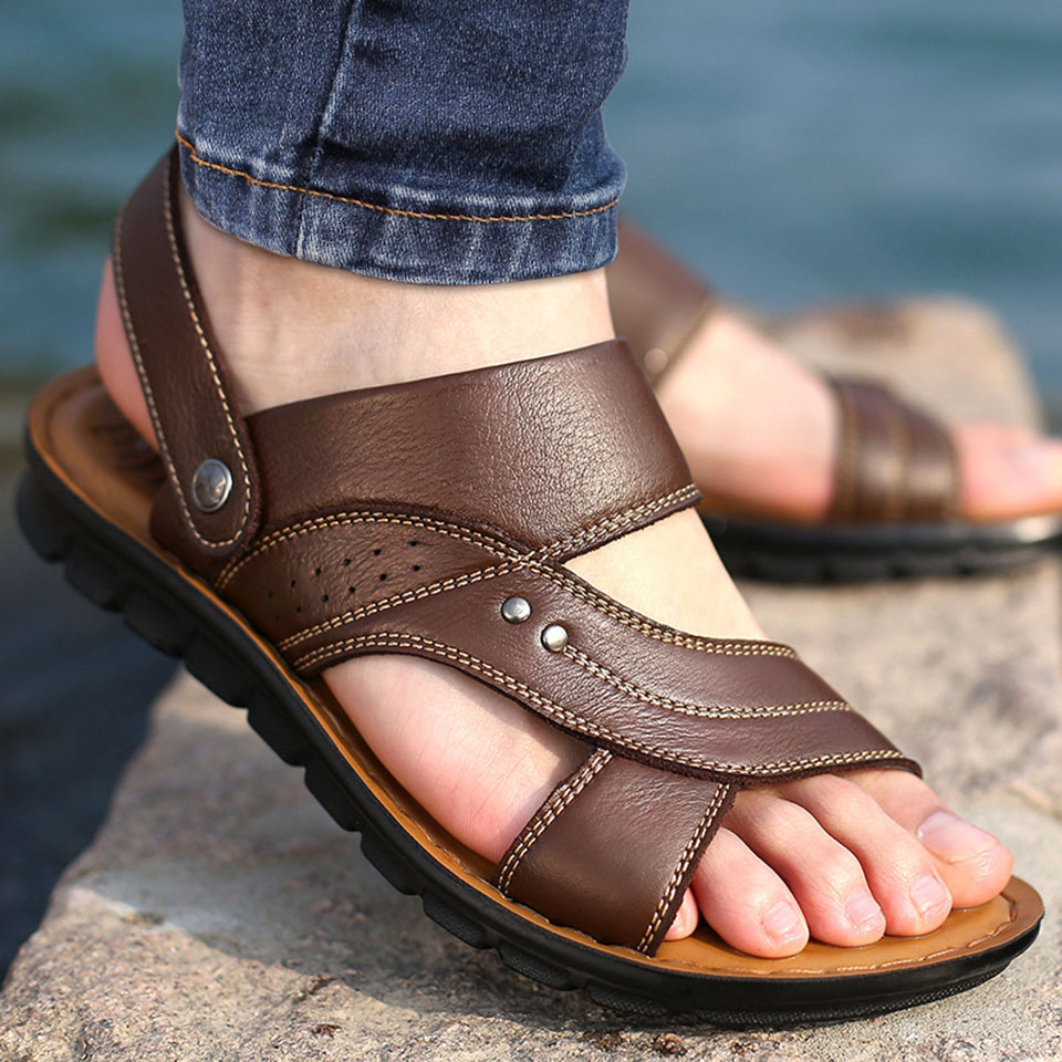 Mens Sandals Slippers Genuine Leather Casual Summer Men Shoes Flat Beach Sandals Comfort Soft Outdoor Male Roman Sandal Big Size