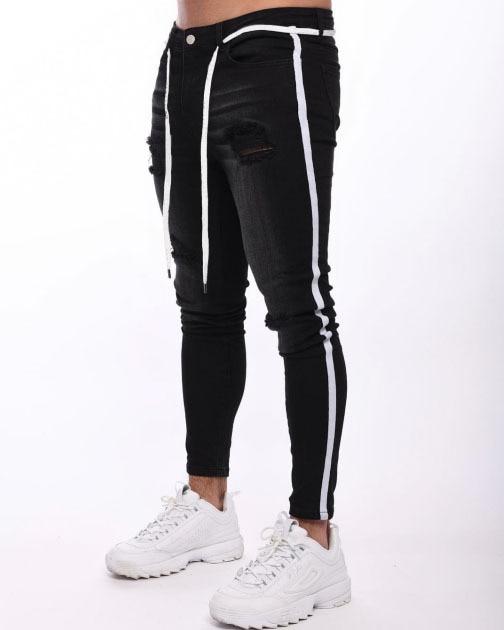 4 Colors  2019 New Knee Hole Distressed Skinny Jeans Men Ripped Tore Up Streetwear For Men Slim Stripe Pants