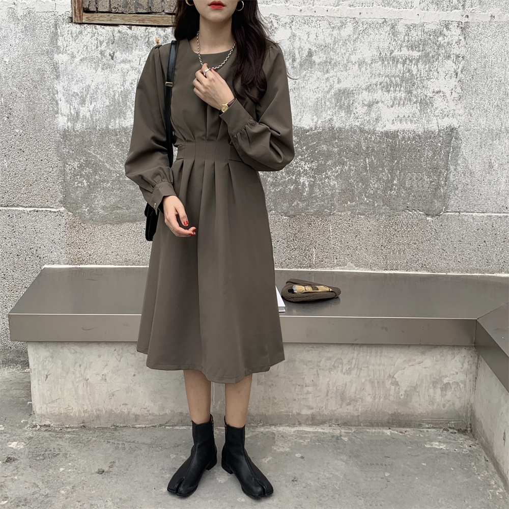 H8584886579d9436daa9aaaf2b030e921Y - Autumn Korean O-Neck Long Sleeves Dark Solid Midi Dress