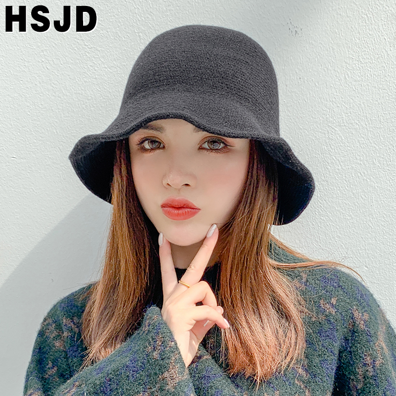 Autumn Winter Women's Hats Fashion Dome Wide Brim Foldable Knitted Bucket Hat Warm Beanie fisherman's hat Vintage Knit Basin Hat