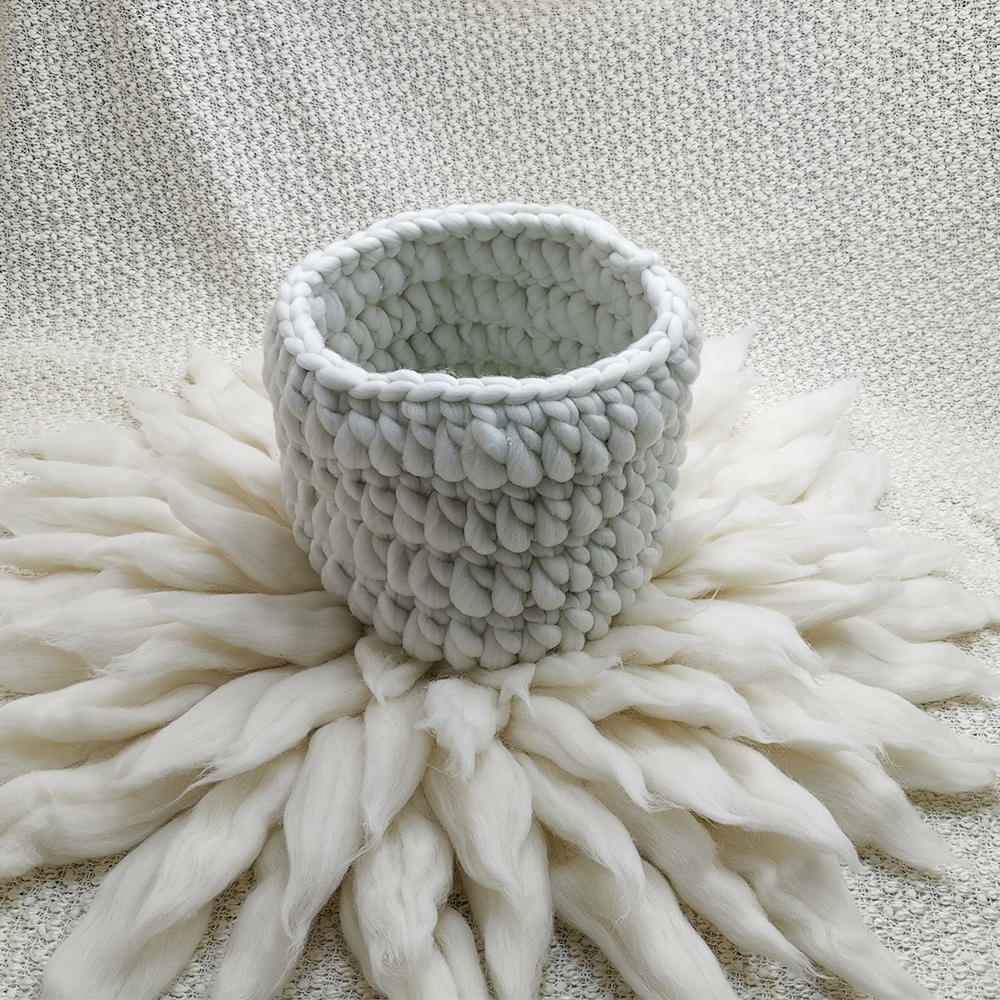 Clearance 150*100cm Thick Bobble Fabric Backdrop Blanket+Knitted Basket+100% Wool Blanket  For Newborn Photography Prop