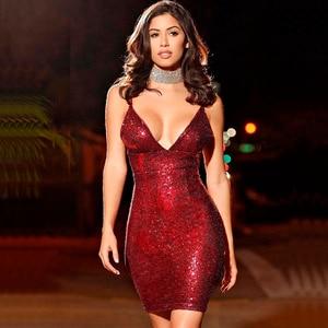 Image 2 - עלה זהב פאייטים שמלת מועדון דיסקו שמלת גליטר מבריק סקסי תחבושת שמלת קוקטייל המפלגה שמלה אדום NightOut קצר שמלת WMZ 2139