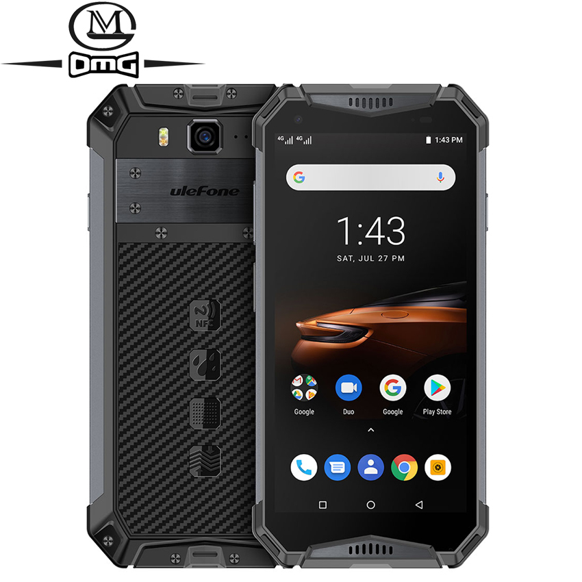 Ulefone armor 3W NFC 10300mAh IP68 shockproof Mobile Phone Android 9.0 Helio P70 6G+64G Face ID 4G LTE Rugged Smartphone