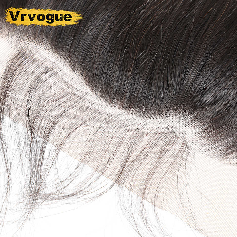 Vrvogue 13x4 Lace Frontal Peruvian Body Wave Frontal With Baby Hair Natural Color Remy Human Hair Free/Middle Part Swiss Lace
