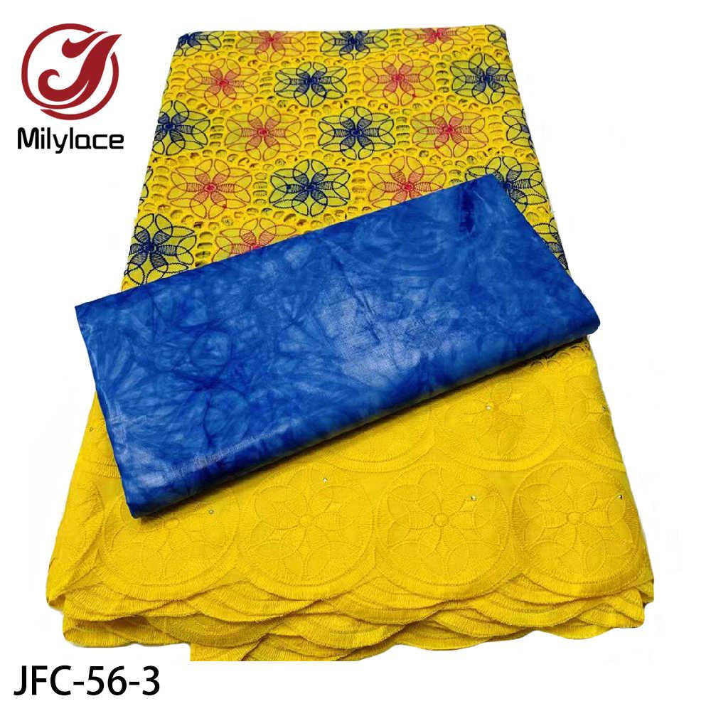 Высокое качество африканская сухая кружевная ткань швейцарская вуаль хлопчатобумажная кружевная ткань с камнями Базен кружевная ткань 2,5 + 2,5 ярдов/партия JFC-56