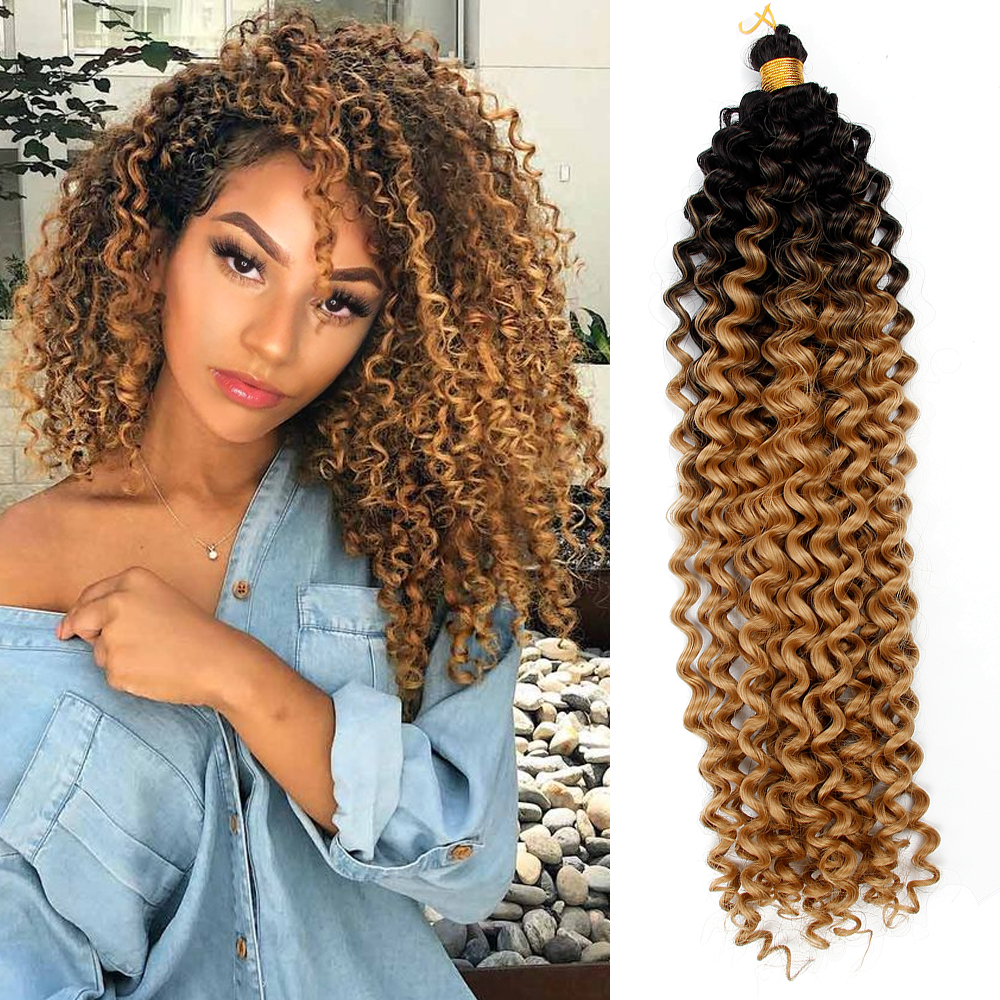 YxCheris Synthetic Crochet Hair Braiding Hair Extensions Water Wave Braids Blonde 613 Bundles Freetress Afro Kinky Twist Bulk