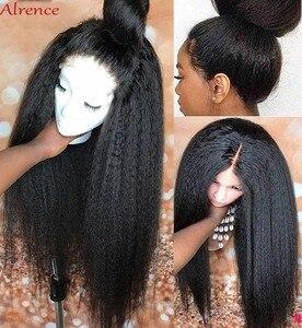 HD прозрачный Синтетические волосы на кружеве al парик кудрявые прямые парики 13x4 Синтетические волосы на кружеве парики для чернокожих Для ж...