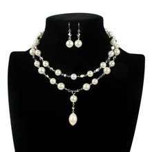 Fashion Sweet Imitation Pearl Layered Necklace For Women Temperament All-match Silver Color Pendant Necklace Set 2020 sweet faux pearl pendant simple design necklace for women