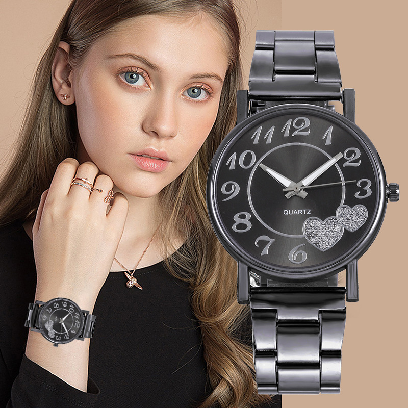 Fashion Women Watches Diamond Love Heart Dial Quartz Watch Montres  Femmes Stainless Strap Watch New Year Gift For Women Girls