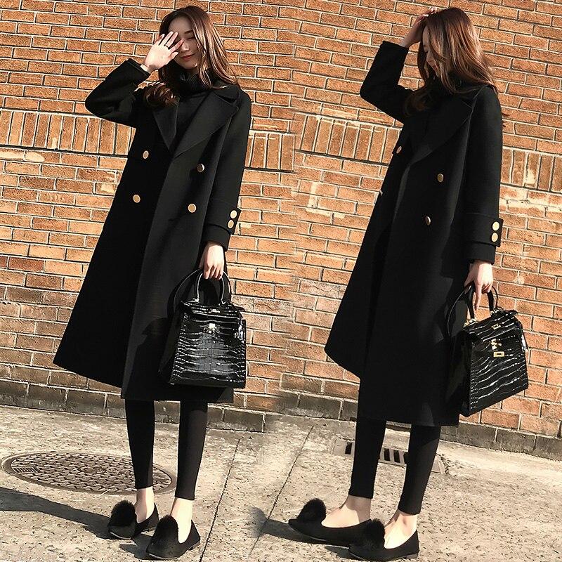 Ms. 2019 осенняя и зимняя новая Корейская версия свободного тонкого шерстяного пальто женское длинное черное шерстяное пальто модное женское