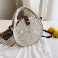 REREKAXI Round Women's Shoulder Bag Cotton Rope Woven Handbag Bohemian Straw Beach Bags Handmade Female Messenger Crossbody Bag straw cotton rope beach bag summer crossbody bags for women 2019 handmade brand shoulder messenger shopping bag women bag