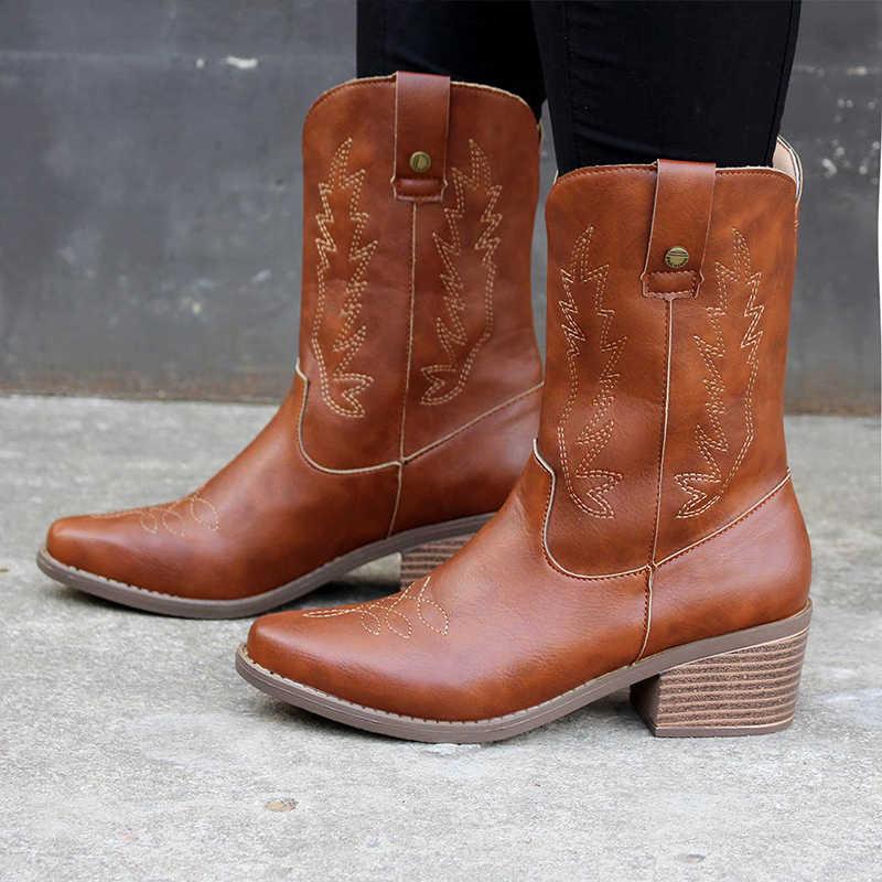 Kadın klasik oyalamak batı kovboy çizmeleri bayanlar orta topuklu kadın kayma kadın orta buzağı çizmeler kadın ayakkabısı Botas mujer