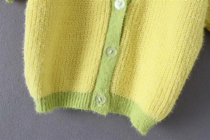Pink cardigan womens sweaters korean crop sweater yellow autumn tops short sleeve v neck short cardigan mohair sweater fall 19 13