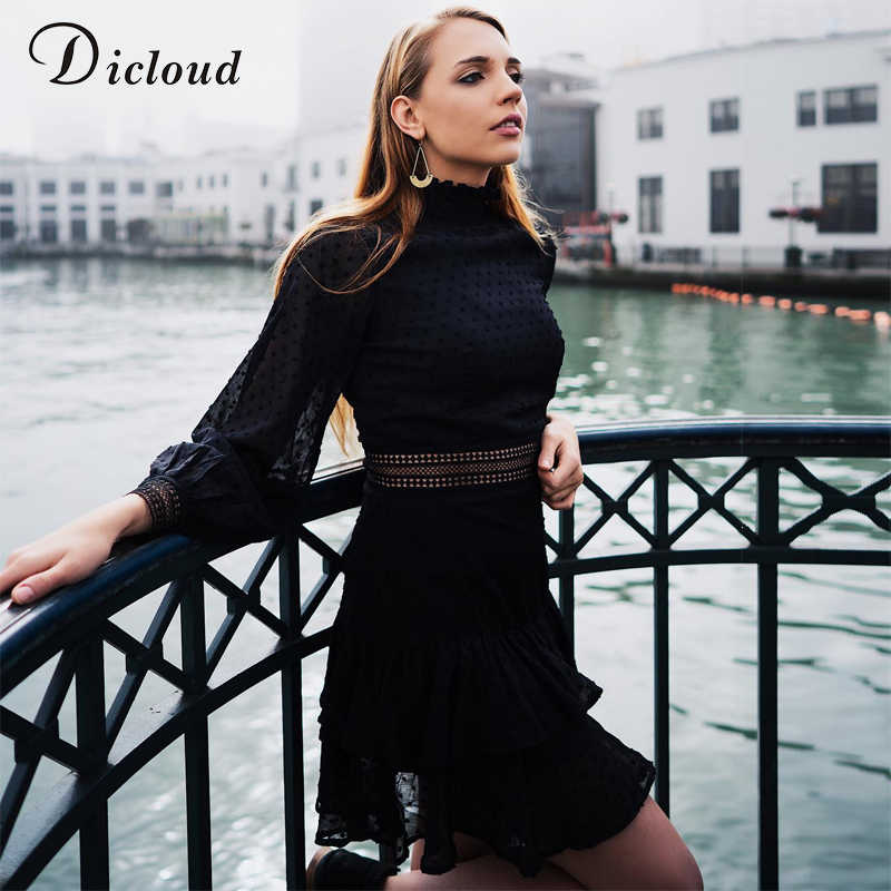 DICLOUD Elegant Hollow Out Black Dress Women Dot Long Sleeve Autumn Spring A Line Mini Party Dress Sexy Fashion Clothing 2020