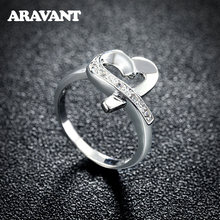 Женское кольцо из серебра 925 пробы с сердцем