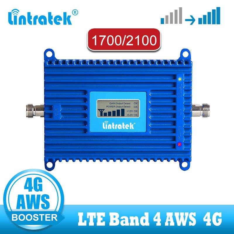 Lintratek FDD LTE 4G AWS zespół 4 komórkowej wzmacniacz 1700 2100 telefonu komórkowego telefon 70dB [ALC] 4g wzmacniacz sygnału B4 1700MHz