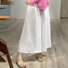 Leg-Pants Maxi-Trousers Elastic-Waist Pleated-Side Vintage Wide Plus-Size Casual Solid