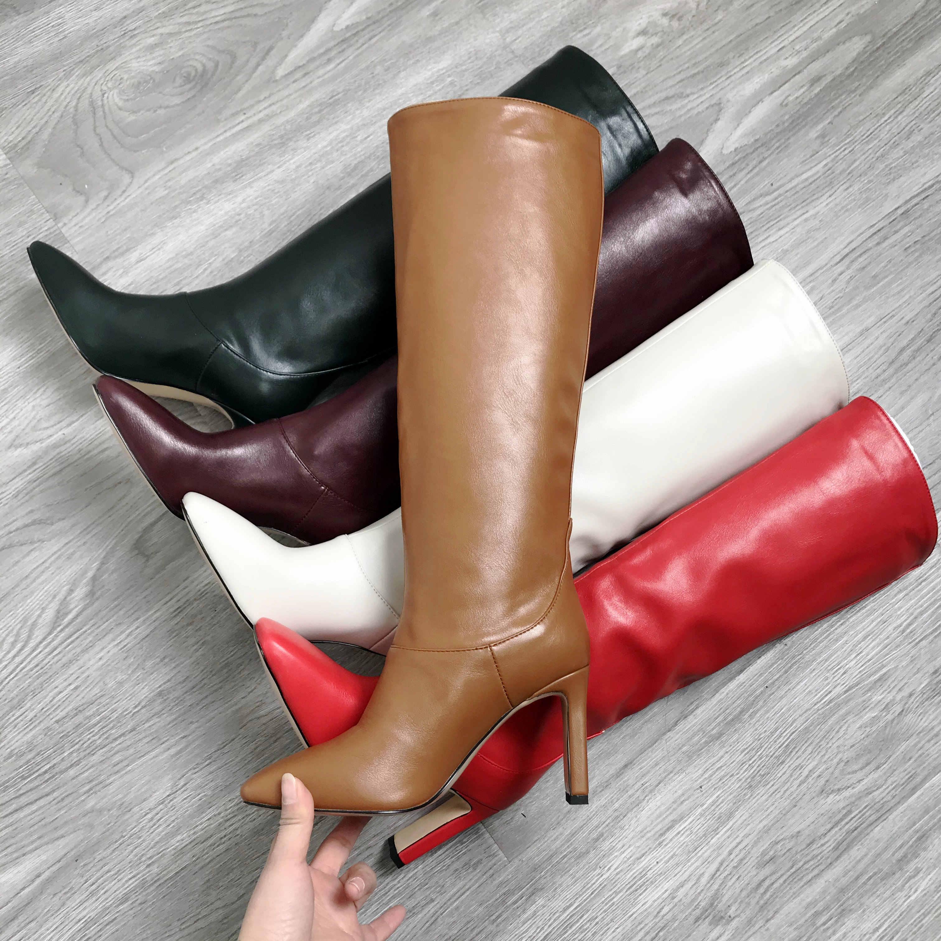 Band tasarımcı suni deri kadın diz yüksek çizmeler kare ayak çizmeler kadın uzun ince blok yüksek topuk çizmeler siyah bej sarı yeşil