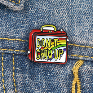 XEDZ DON'T GROW UP Lunch Box Brooch Hard Fast Food Box Cute Cartoon Vintage red Rainbow suitcase Enamel brooch Pin jewelry Gif(China)