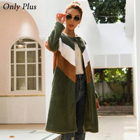 Only Plus Women Outwear Winter Cardigan Coat Woolen Fashion Patchwork Stripe Long Coats Female Loose Casual Simple Coat