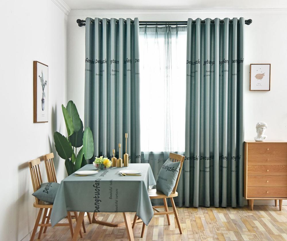 rideaux pour salon salle a manger chambre bleu clair ecrans impression villages americains minimaliste style europeen rideau occultant