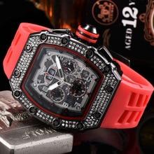 2021 Quartz Watch Richard 6-pin Diamond Luxury Men's Automatic Watch Men's Designer Wrist Watch Waterproof Reloj Hombre