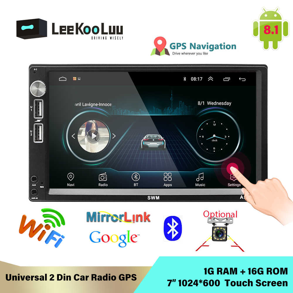 "LeeKuuLoo Android 8,1 Radio de coche 2 Din 7 ""HD Central Multimedia GPS Navigator WiFi Bluetooth de Audio MP4 reproductor de vídeo USB AUX Stere"