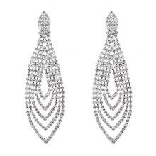 цена на Chran Elegant Silver Plated Chandelier Dangle Long Earrings for Women Fashion Sparkling Rhinestone Wedding Earrings Jewelry