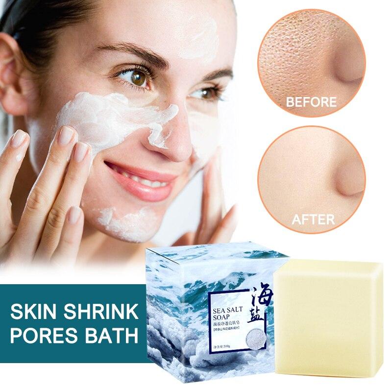 Acne Treatment Face Wash Soap Sea Salt Goat Milk Mite Removal Soap Bath Shower Skin Care