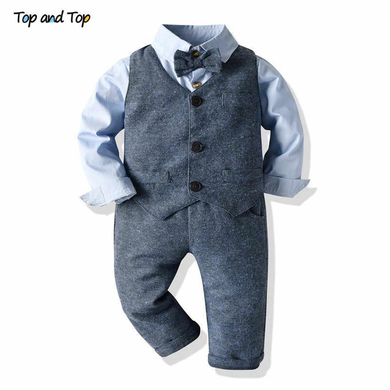 Baby Boy Formal Party Wedding Tuxedo Waistcoat Outfit Suit Romper Boys SZ 0-24 M