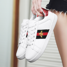 Buy 2019 Autumn Fashion Girls Casual Shoes Girl Sneakers GG Shoe All-match Bee Embroidered Breathable Flat Leather Shoes directly from merchant!