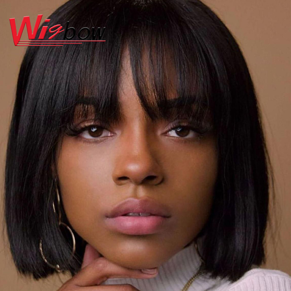 Human Hair Wigs Short Human Hair Wigs With Bangs For Women Medium Length Bob Wig Style Natural Color