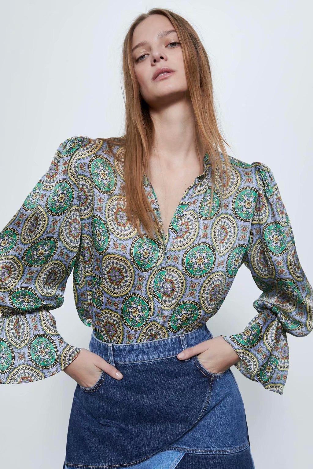 2020 New Spring Summer European Streetwear Printed Flowing Female Shirt Zaraing Vadiming Sheining Women's Printed Shirt A9658