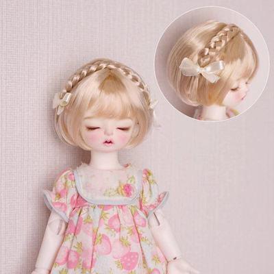 BJD Doll Wig Suitable For 1/3 1/4 1/6 MSD YOSD DD Size Wig Soft Soft Silk Braid Mushroom Head With Ribbon Doll Accessories