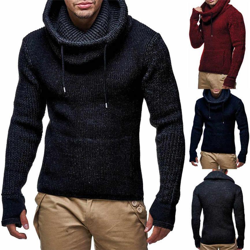 Mannelijke Kleding 2019 Heren Lange Slanke Hoge Kraag Trui aantrekken Gebreide Trui Tops Blouse Herfst Winter Camisola Nieuwe Aanbieding