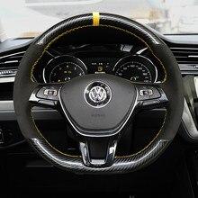 Funda para volante de fibra de carbono y cuero de ante 5D, cubierta de envoltura de costura a mano para Volkswagen Golf 7 Mk7 Passat B8