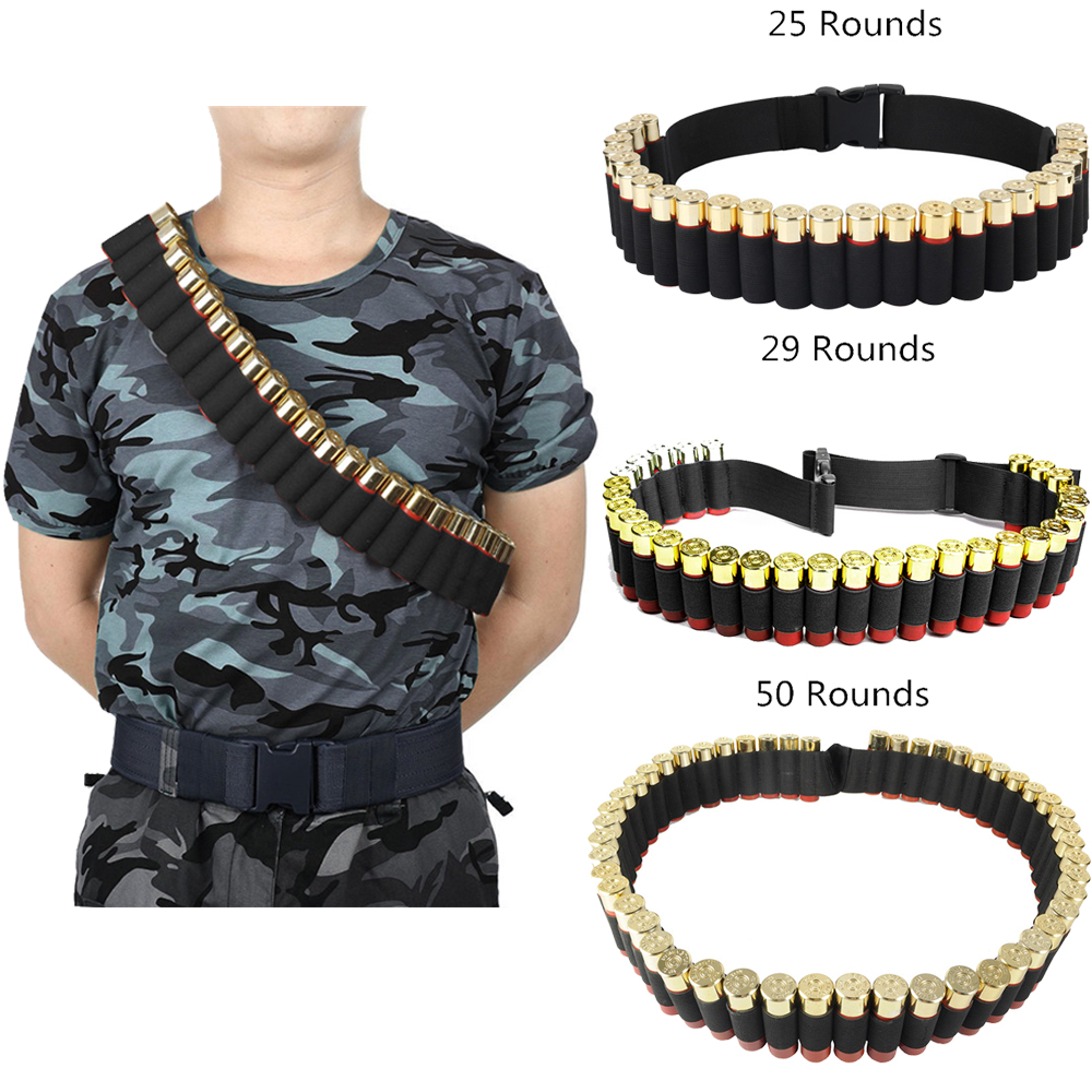 25/29/50 Rounds Hunting Bullet Ammo Tactical Military Airsoft Shotgun Shell Bandolier Belt 12/20 Gauge Shotgun Cartridge Belt