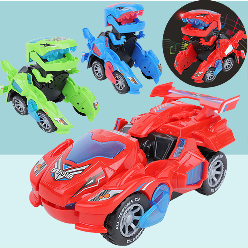 Douyin Hot Selling Children'S Educational Electric Universal Automatic Transformation Dinosaur Chariot Light Music Car Model Toy