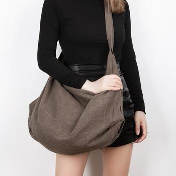 Shoulder bag women 2020 new fashion large capacity diagonal bag autumn and winter wild Korean back pack cotton linen bag art