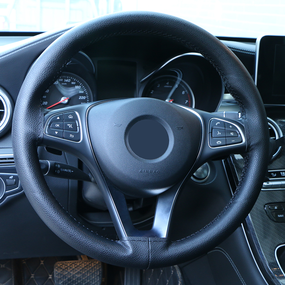 Universal Car Steering Wheel Cover Artificial Leather Steering Wheel Braid Non-slip Wear-resistant With Needle And Thread 38cm