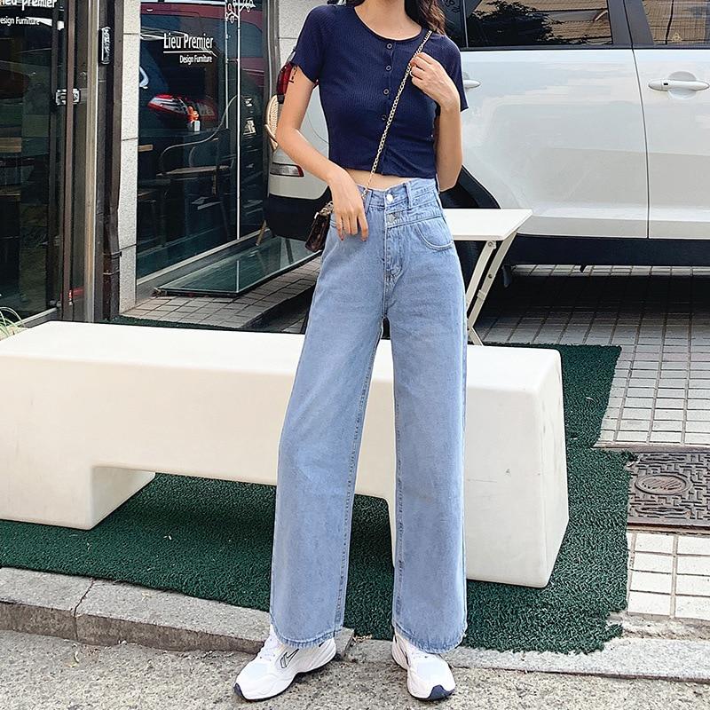 High-waisted Wide-Leg Jeans Women's 2019 Autumn New Style Slimming Korean-style Slacks Children Hyuna Handsome Floor-Length Trou