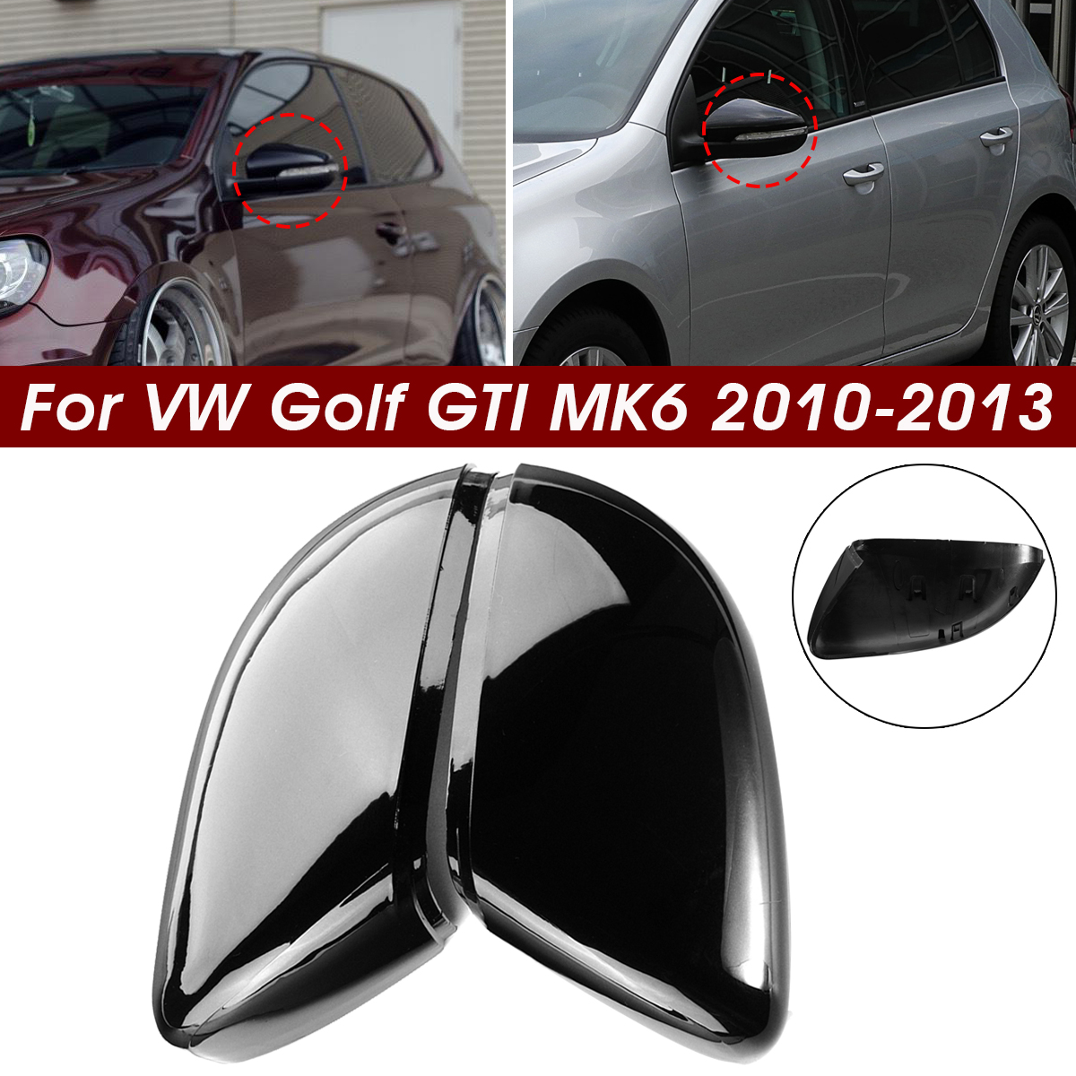A Pair Wing Rear View Mirror Case Cover Trim Cap For VW Golf GTI MK6 Touran(China)