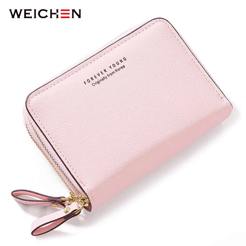 WEICHEN Double Zipper Women Wallets Synthetic Leather Small Purses & Wallets Female Card Holder Coin Pocket Ladies Short Clutch