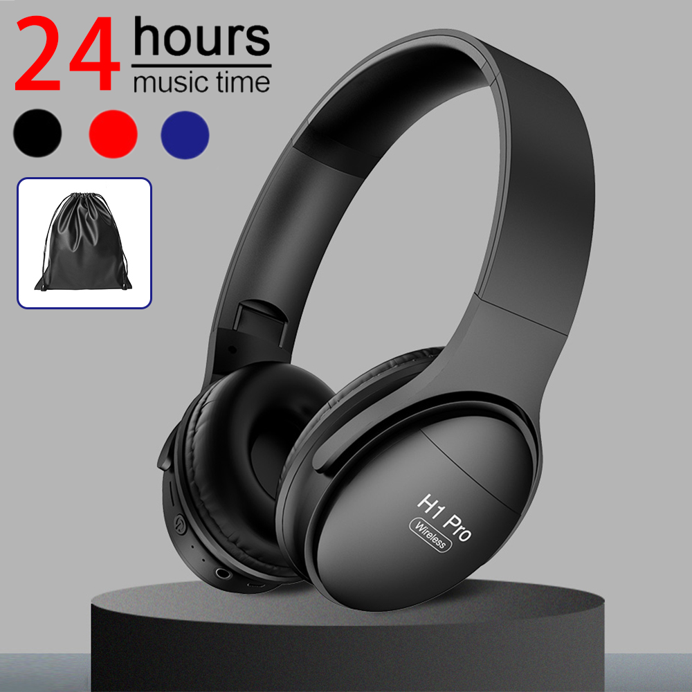 H1 Pro Bluetooth Headphone Wireless <font><b>Earphones</b></font> <font><b>Noise</b></font> <font><b>Canceling</b></font> Headphone Stereo Headset Headset Earbuds for Phone PC Mp3 Music image