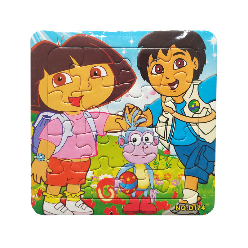 Puzzles Famous Cartoon Dora And Friends Series 16PCS  Educational Toy For Children Digital Paper Puzzle Game Free Shipping